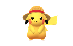赤いリボンの麦わら帽子をかぶったピカチュウ